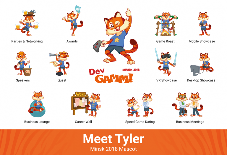 Tyler is my name: tiger mascot of DevGAMM Minsk 2018