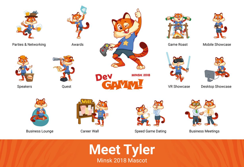 Tyler is my name: tiger mascot of DevGAMM Minsk 2018
